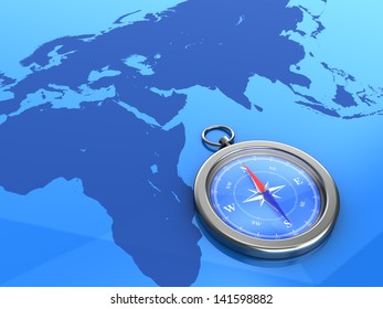3d illustration of compass on the world map background