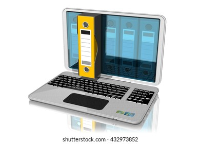 3D illustration. Computer with binders, folders, documents. One linked bin is selected and extends outside the computer.