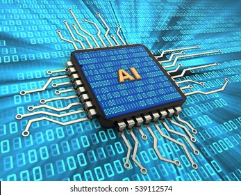 3d illustration of computer chip over digital background with AI sign and binary code inside