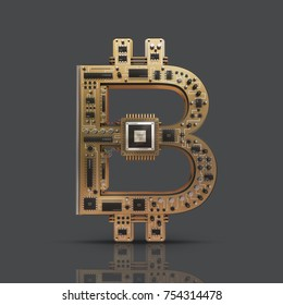 3D illustration of computer circuit board forming bitcoin symbol