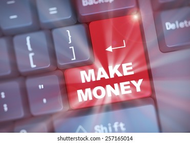 3d illustration of computer keyboard enter button with word make money
