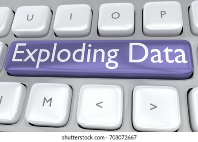 """3D illustration of computer keyboard with the print """"Exploding Data"""" on a gray button"""