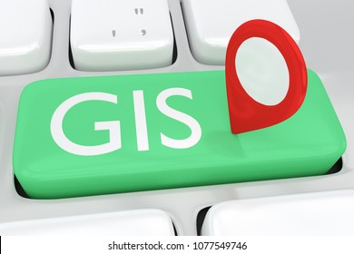 3D illustration of computer keyboard with the script GIS and location icon on a green button