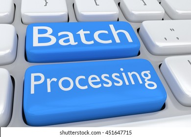 """3D illustration of computer keyboard with the script """"Batch Processing"""" on two adjacent pale blue buttons"""