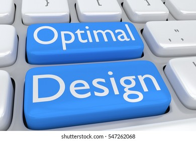 "3D illustration of computer keyboard with the script ""Optimal Design"" on two adjacent pale blue buttons"