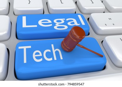 3D illustration of computer keyboard with the script LEGAL TECH on two adjacent blue buttons, allong with judge gavel.