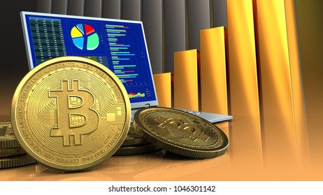 3d illustration of computer over golden charts background with bitcoins
