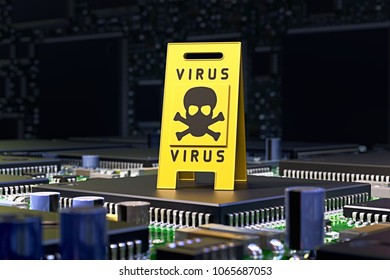 3D illustration - Computer with warning sign