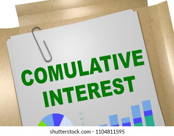 3D illustration of COMULATIVE INTEREST title on business document