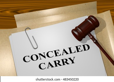 """3D illustration of """"CONCEALED CARRY"""" title on legal document"""