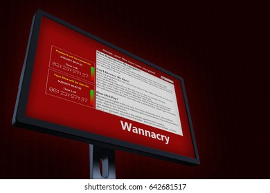 3d illustration with concept of computer virus Wannacry. Virus sign on LCD Screen