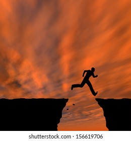 3D illustration of concept conceptual young man businessman silhouette jump happy from cliff over gap sunset sunrise sky background metaphor to freedom, nature, mountain, success, free joy health risk