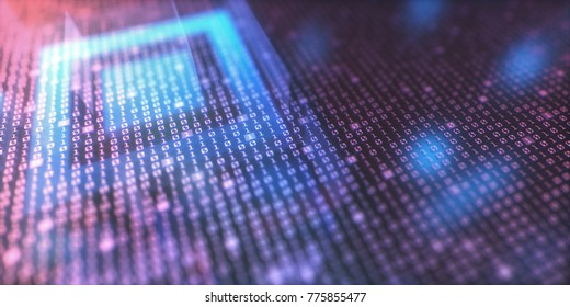 3d illustration of a concept image of digital data. Binary code and quick response code.