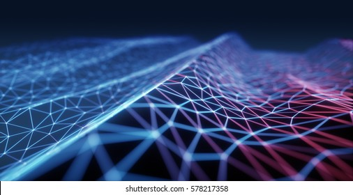 3D illustration, concept image. Embossed mesh representing internet connections in cloud computing.