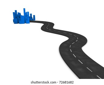 3d illustration, concept image Road to city, isolated on white background.