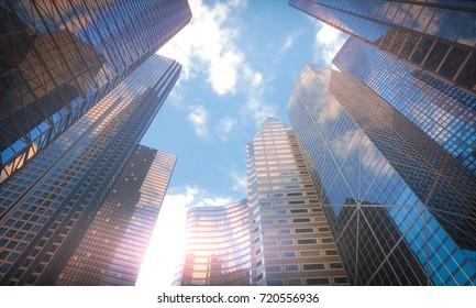 3D illustration. Conceptual image of buildings, perspective futuristic vision.