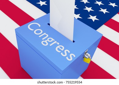 """3D illustration of """"Congress"""" script on a ballot box, with US flag as a background."""