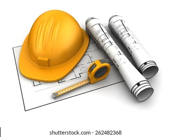 3d illustration of construction blueprints over white background