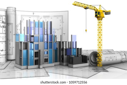3d illustration of construction progress with drawings over white background