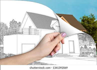 3d illustration. A cottage renovation concept