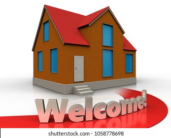 3d illustration of cottage with welcome sign over white background