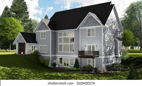 3D Illustration of a Country Craftsman House