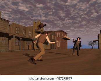 3d illustration of a cowboy duel