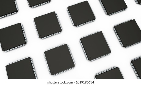 3D illustration CPU or IC on white background