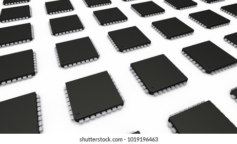 3D illustration CPUs or ICs on white background
