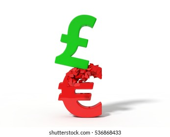 3d illustration of crashing pound and euro currency signs.