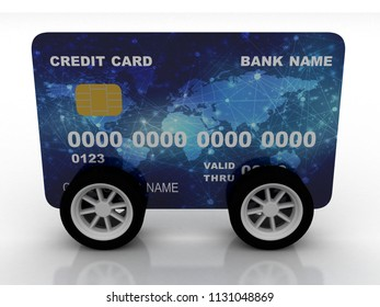 3d illustration Credit Card with Wheels