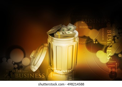 3d illustration of Currency note in trash bin