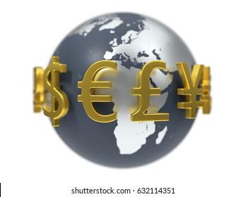 3d illustration of currency symbols.