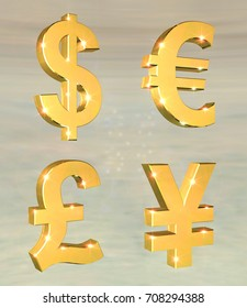 3D illustration of Currency Symbols Set on a gray background with lens flare effect