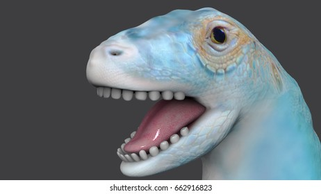 3D illustration: cute fantasy cerulean dinosaur (sauropod, apatosaurus) with funny wow-face is smiling on a gray background.