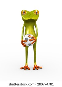 3d illustration of cute funny frog holding football soccer ball