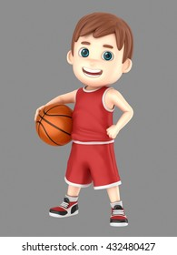 3d illustration of a cute kid holding a basketball in uniform