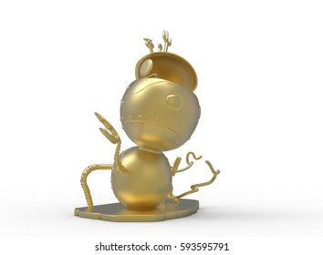 3d illustration of cute robot. white background isolated. icon for game web.