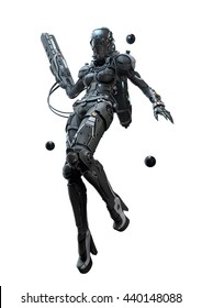 3D illustration cyborg girl flying with a weapon in her hand on a white background