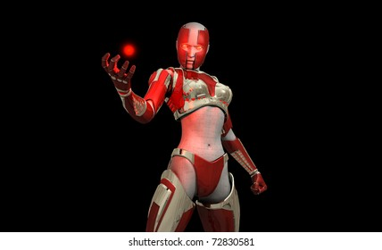 3D illustration of a cyborg soldier