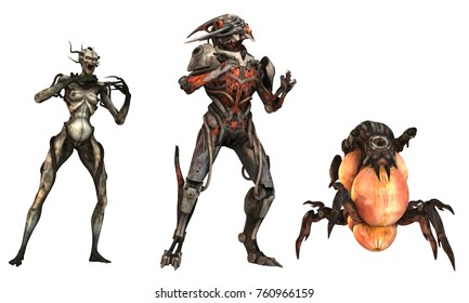 3D Illustration of a cyborgs monsters isolated on white