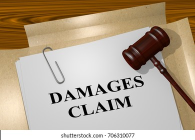 "3D illustration of ""DAMAGES CLAIM"" title on legal document"