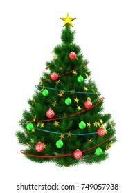 3d illustration of dark green Christmas tree with golden stars over white background