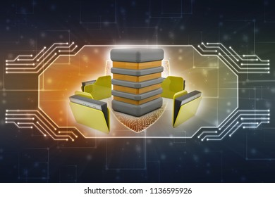 3d illustration of Data sharing concept