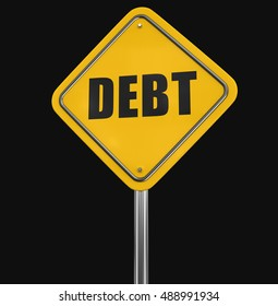 3D Illustration. Debt road sign. Image with clipping path