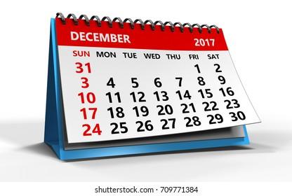 3d illustration of december 2017 calendar over white background