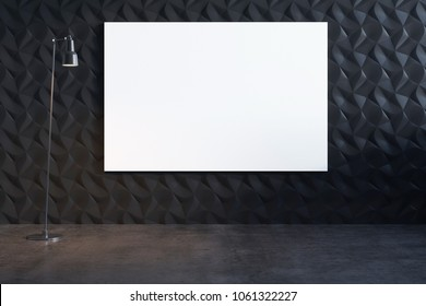 3D illustration of the decorative  wall with white canvas