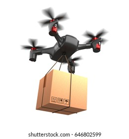 3d illustration delivery drone