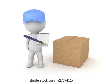 3D illustration of deliveryman with package asking for a signature. He is holding a pen and paper aimed towards the camera.