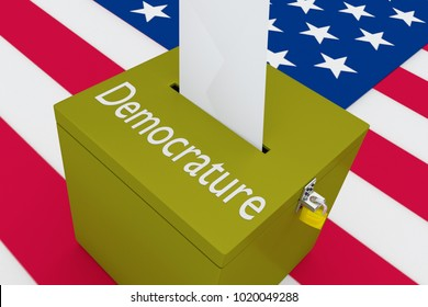 3D illustration of Democrature script on a ballot box, with US flag as a background.